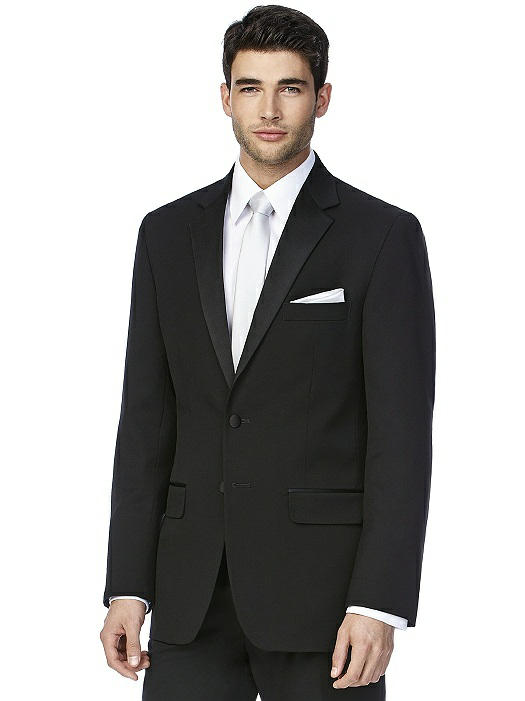 "You can't go wrong with a classic tux! We particularly like Dessy's ""Andrew"" cut; timeless and oh so handsome!"